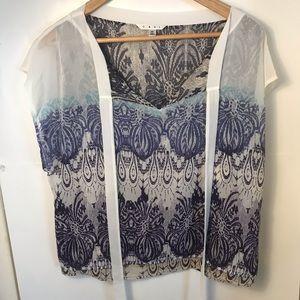 CABI sheer printed top shirt sleeve